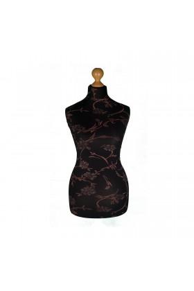 Female Tailor's Dummy Torso Size 20/22 Brown Flowers on Black